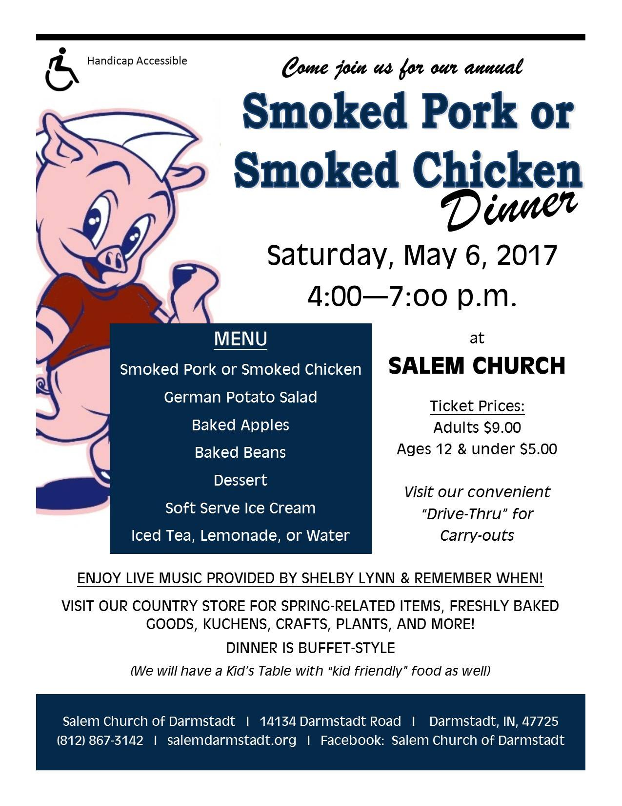 Smoked Pork or Smoked Chicken Dinner – Salem Church of Darmstadt